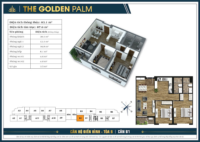 Căn B2 - 83m - The Golden Palm