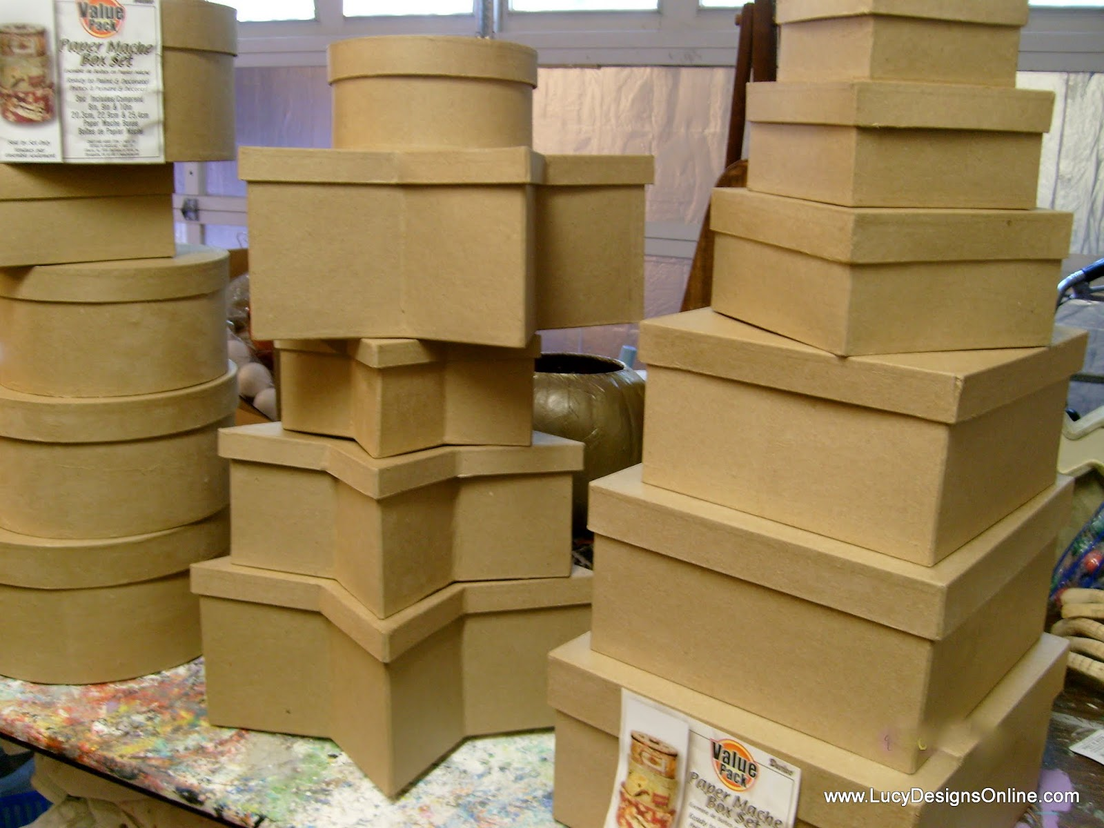 sets of paper mache stacking gift boxes