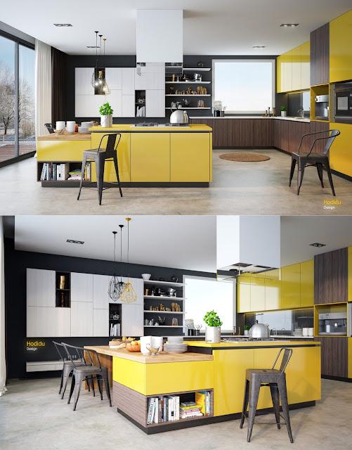 большая желто-серая островная кухня