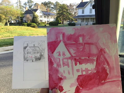 Barb Mowery painting plein air in Snow Hill Maryland.