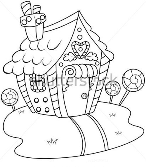 Gingerbread house coloring page disney coloring pages for Coloring pages of gingerbread houses