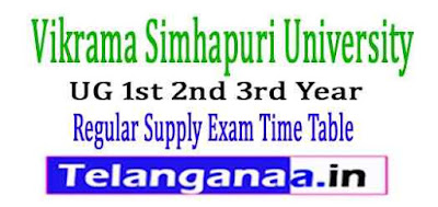 VSU UG 1st 2nd 3rd Year Regular Supply Exam Time Table