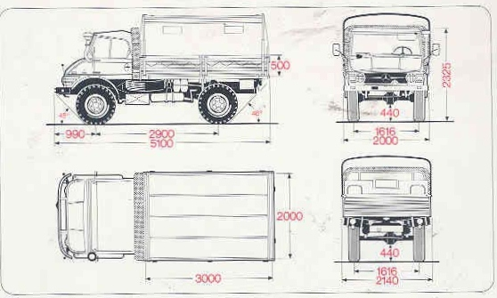 Cami n argentino mercedes benz unimog u416 cabina simple for Dimensiones cabina inodoro