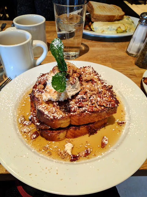 Pecan Pie French Toast for breakfast at Green Eggs Cafe in Center City Philadelphia
