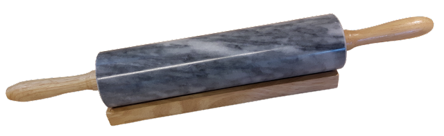 A black and grey marbled-bodied rolling pin with wooden handles.