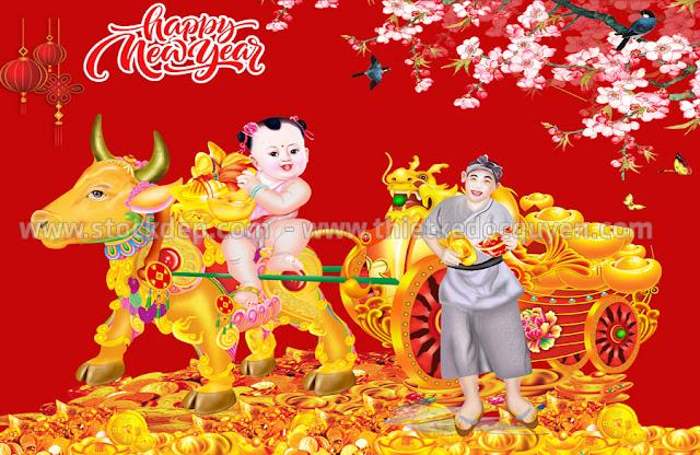Trâu kéo xe vàng Tài Lộc
