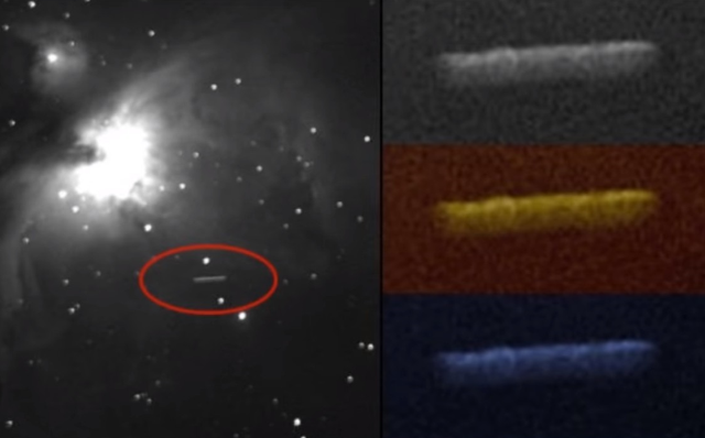 Formation Cigar-shaped UFOs traveling through space next to the Orion Nebula  UFOs%2BOrion%2BNebula%2BSpace%2B%25281%2529