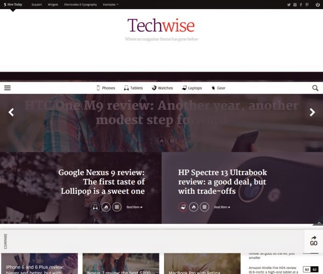 Techwise - Drag & Drop Magazine w/ Comparisons WordPress Theme