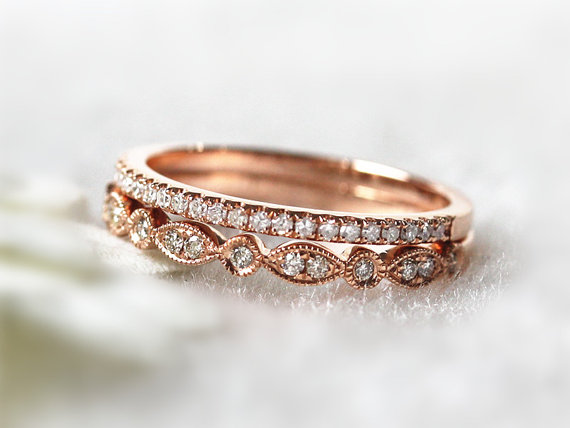 Rose Gold Stackable Wedding Rings