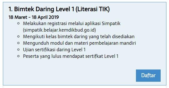 Jadwal Pembatik 2019 level 1