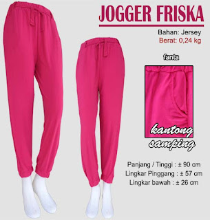 Jogger pants wanita bahan jersey polos ready stock