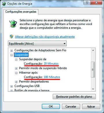 Opções de Energia do Windows