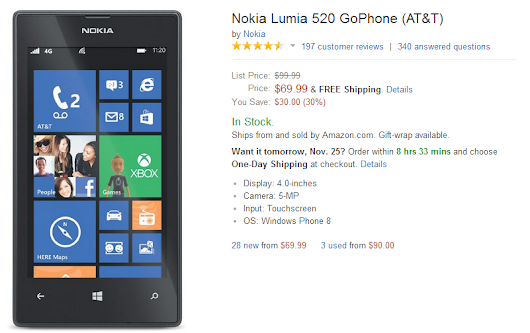 Deal: Nokia Lumia 520 for AT&T just $69 from Amazon and Best Buy | Windows Phone Daily