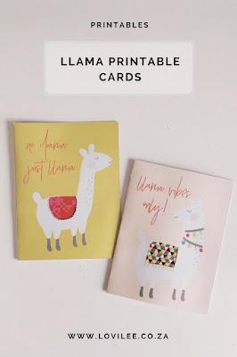 llama printable cards