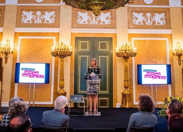 Queen Maxima opens Tomorrow More Music in the Classroom Symposium at Noordeinde Palace in The Hague. Queen wore Natan skirt