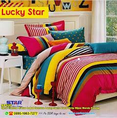Sprei Custom Katun Lokal Dewasa Lucky Garis Linen Strip Hijau Merah Kuning