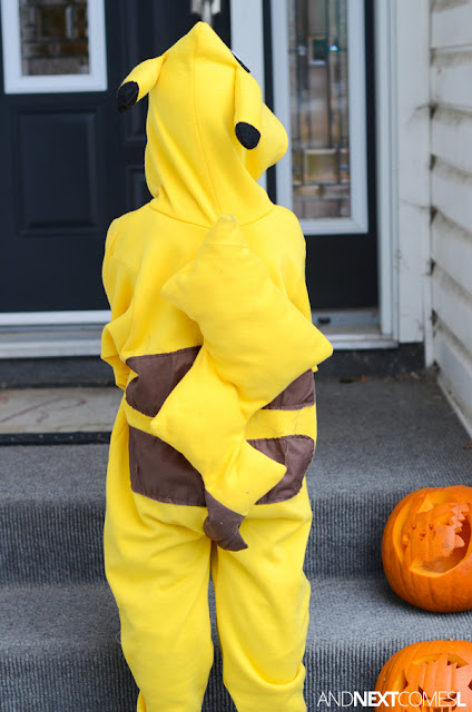 Tutorial for making a Pikachu Halloween costume for kids from And Next Comes L