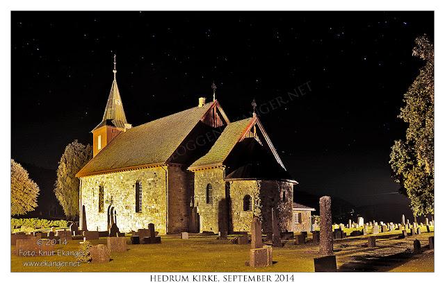 Hedrum kirke en natt i september 2014