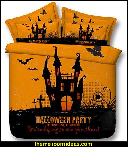 Fancy Halloween Castle Print 5-Piece Comforter Sets  Halloween decorations - Halloween decorating props - Halloween theme - Halloween decorating ideas - Halloween decor - wall murals halloween haunted mansion - lifesize standing halloween figures - halloween bedding -  HALLOWEEN COSTUMES
