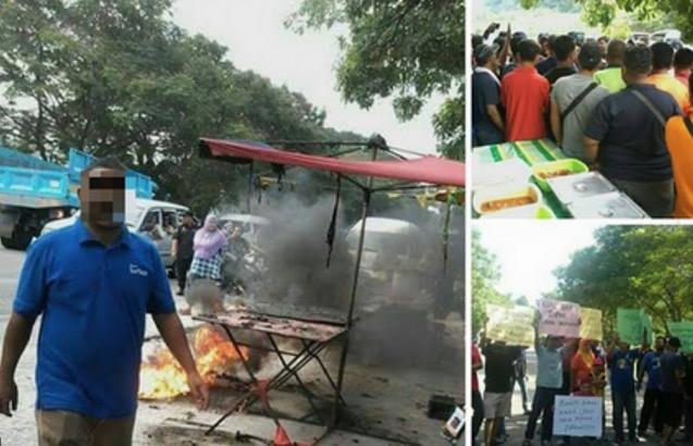 Bengang Tidak Dibenarkan Berniaga, Peniaga Nekad Bakar Gerai Bazar