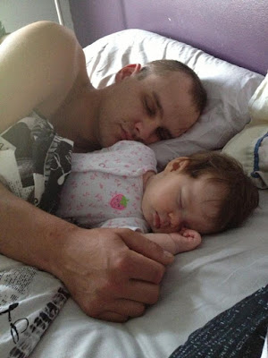 co-sleeping baby and dad