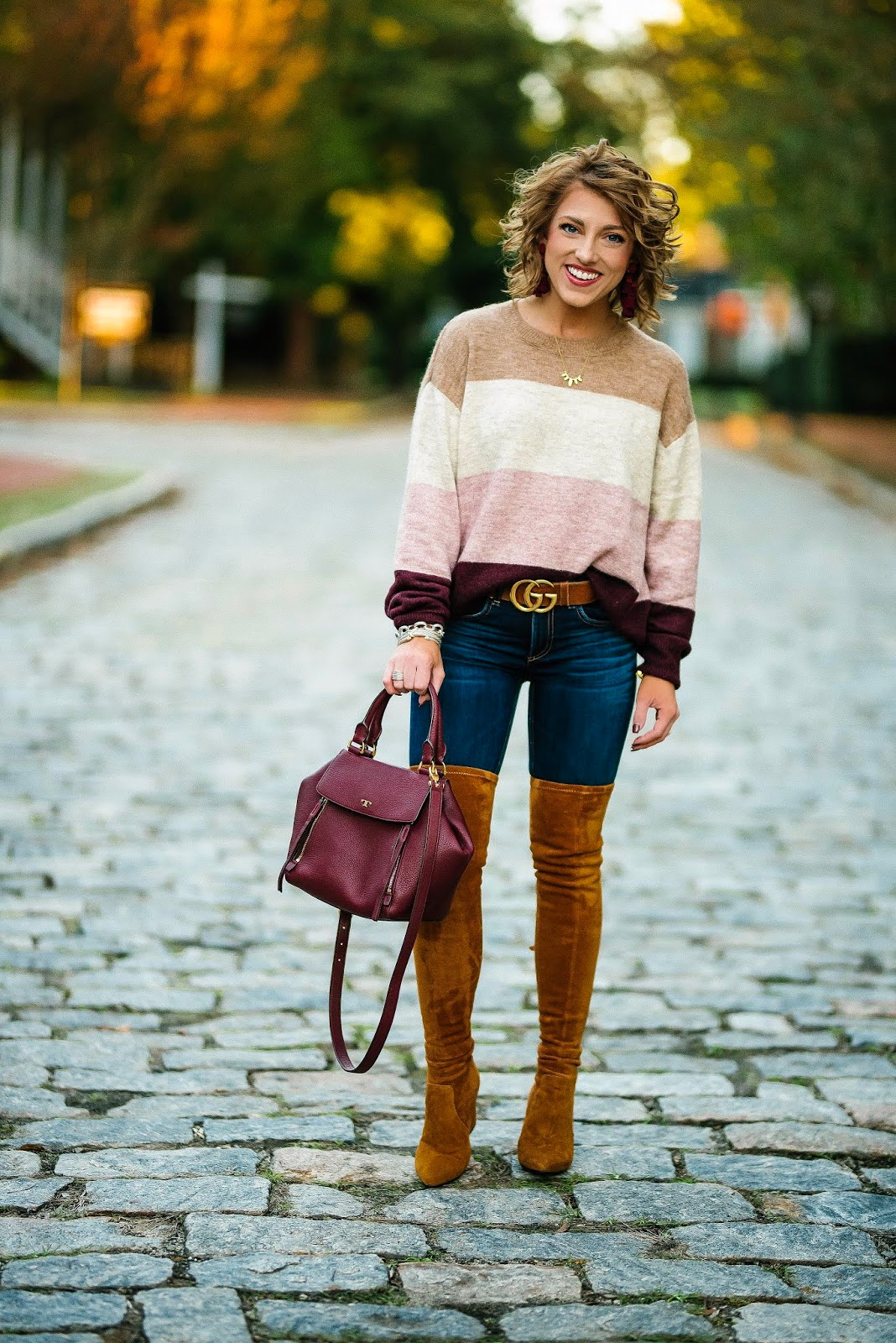 Pink & Burgundy Color Block Sweater + OTK Boots - Something Delightful Blog
