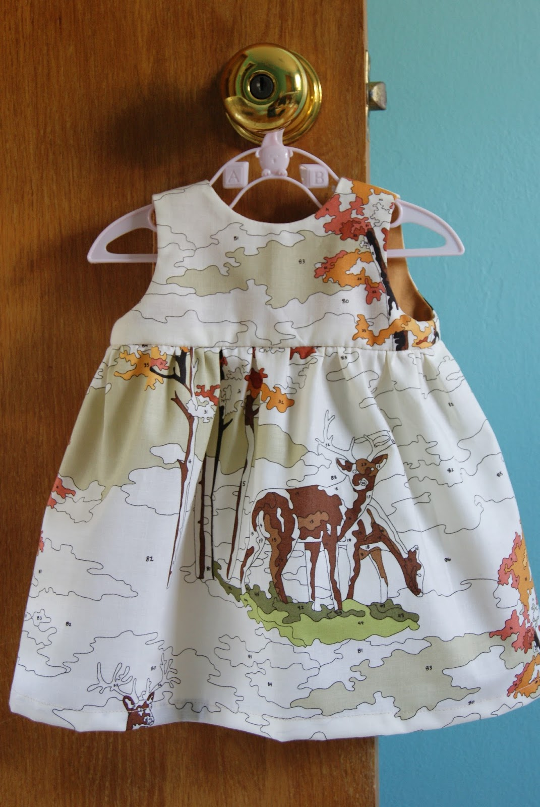 Made by Rae Little Geranium Dress, Paint by Number Deer from Erin Michael's Lush Uptown line
