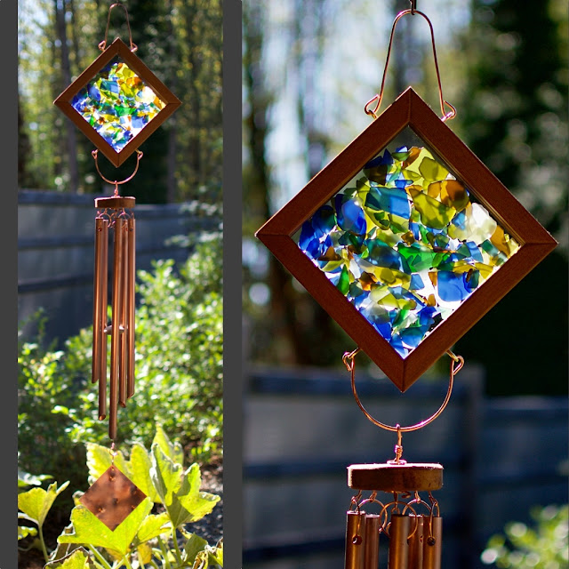 Kaleidoscope Glass and Copper Large Outdoor Wind Chime
