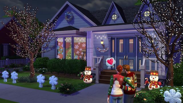Escena de exterior realizada con el pack gratuito de Navidad Los Sims 4 Felices Fiestas