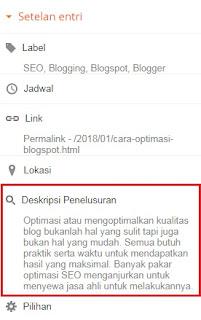 Meta Deskripsi SEO Blogspot