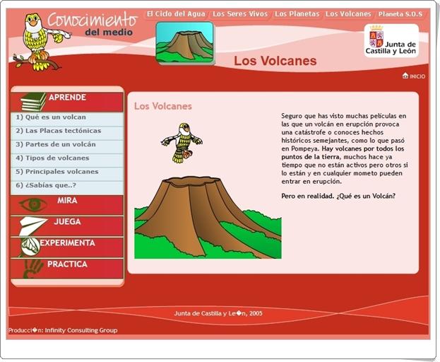"""""""Los volcanes"""" (Aplicación interactiva de Ciencias Sociales de Primaria)"""