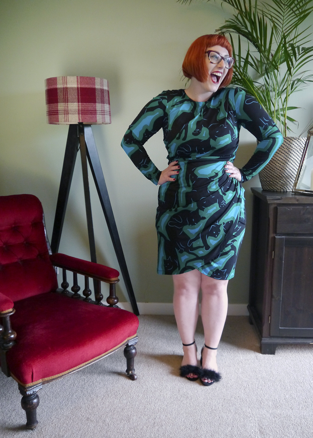 UK fashion blogger Helen from Wardrobe Conversations wear an Issa cat print dress and fluffy shoes for the Friday night of Edinburgh Cocktail Weekend