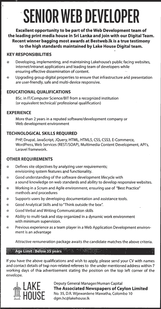 Vacancies] Senior Web Developer – Lake House   Derana Jobs   Sri ...