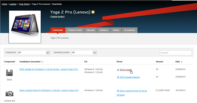 Updated the BIOS of my Lenovo Yoga 2 Pro laptop to Version 38 | The