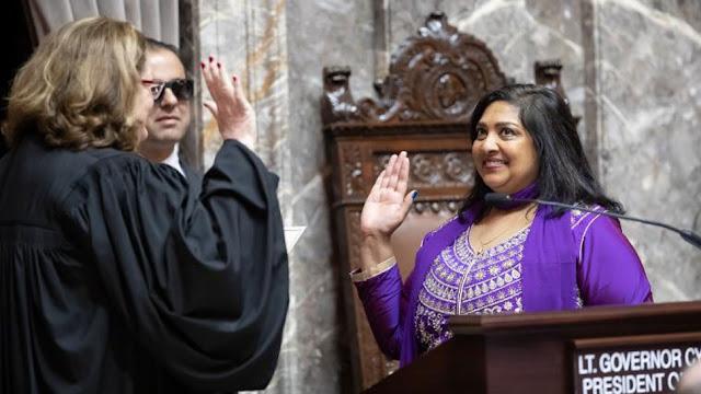 बिहार की बेटी ने अमेरिका में हिंदू धर्मग्रंथ गीता के साथ ली सीनेटर की शपथ, जय हिंद का लगाया नारा