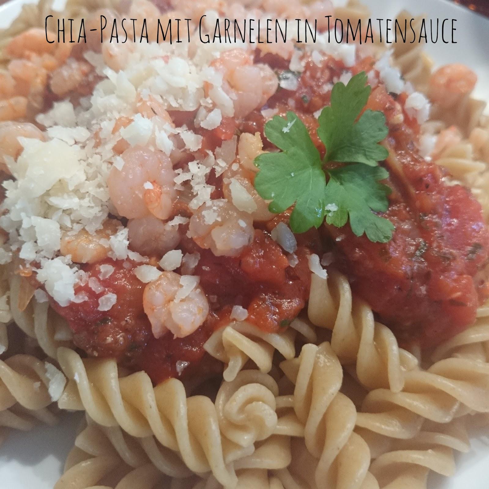 lucciola food chia pasta mit garnelen in tomatensauce. Black Bedroom Furniture Sets. Home Design Ideas