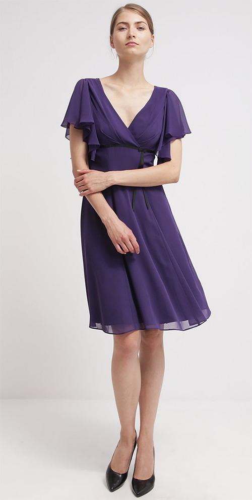 Robe de soirée midi violette Swing