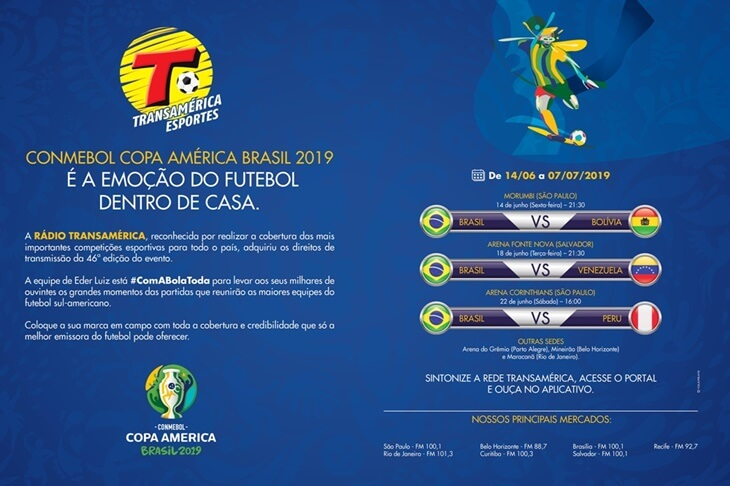 Rádio Transamérica se prepara para cobertura da Copa América 2019 e lança campanha publicitária