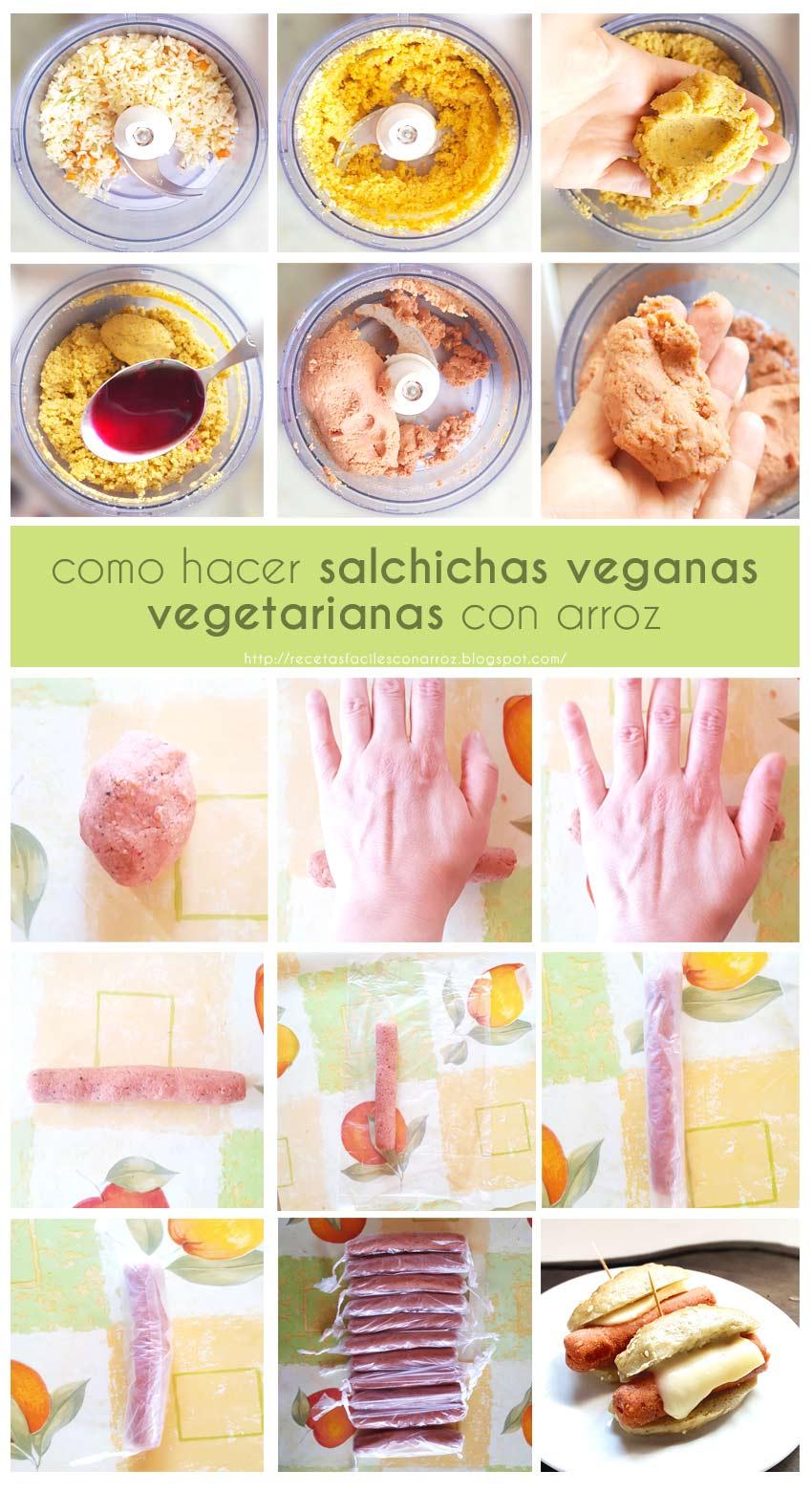 salchicha vegana vegetariana arroz fototutorial