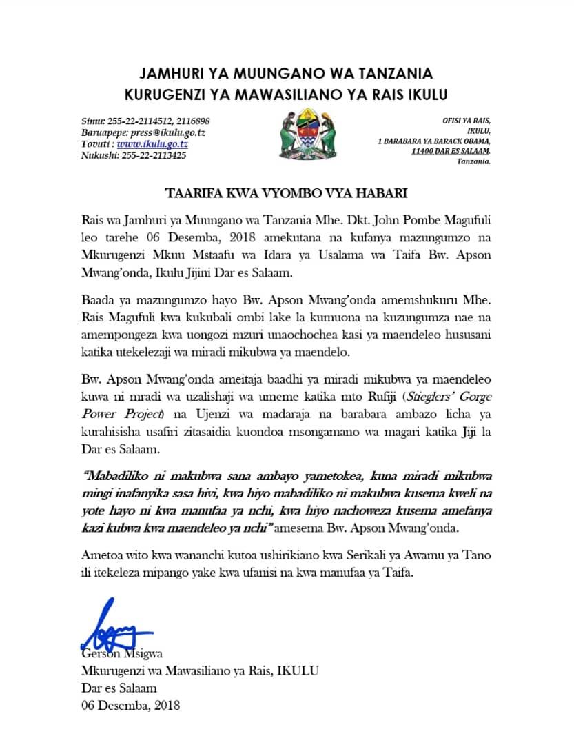 Rais Magufuli Akutana na Kufanya Mazungumzo na Mkurugenzi Mstaafu wa Usalama wa Taifa