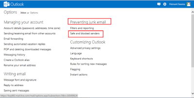 Outlook Preventing Junk email