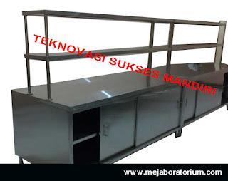 Meja laboratorium island bench  bahan stainless steel