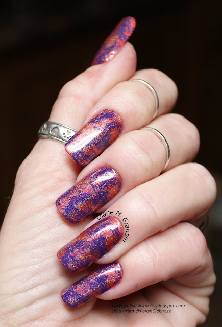 China Glaze Bend Over Backwards, MdU Violet, Uber Chic UC 5-01, Spectraflair holo topcoat