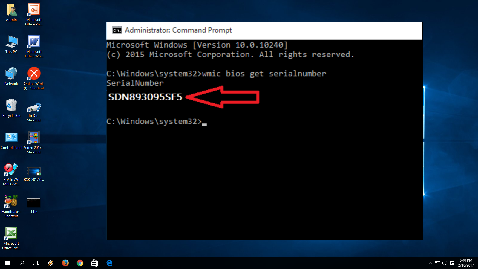 check serial number windows command