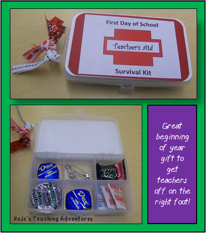 Looking for a back to school gift for the teacher? Make this first day of school survival kit! It's a great way to make ANY teacher feel appreciated, it's a relatively quick DIY project, and it will be greatly appreciated!
