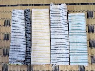 手織り手紡ぎ工房の初夏のベストのための試し織り