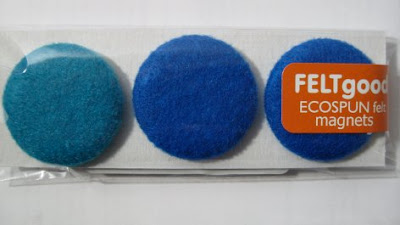 blue felted magnets