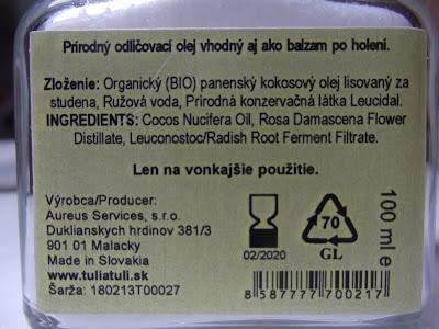 Prírodný odličovací olej zloženie