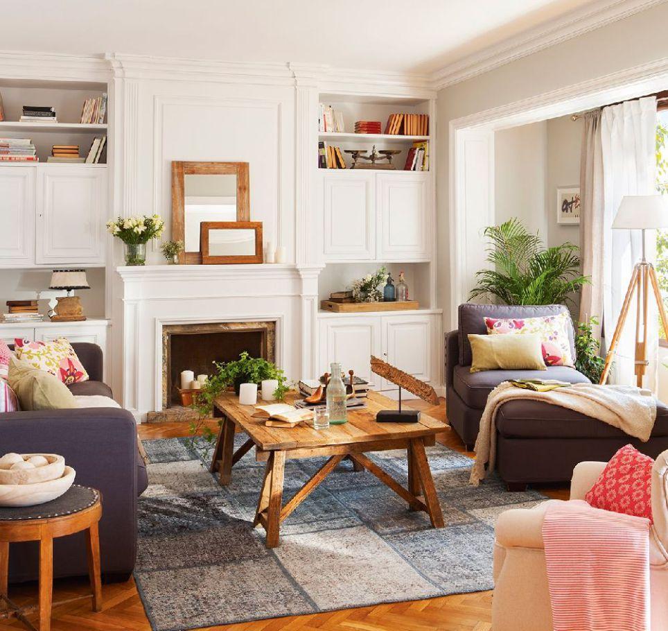 Decordemon elegant fresh and colorful apartment in barcelona - Salon con chimenea ...
