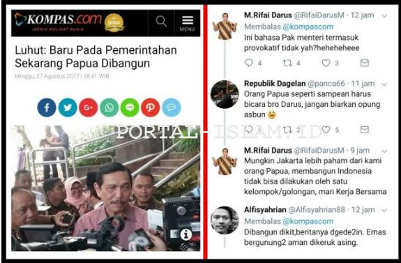 "Putra Daerah Papua Luruskan Pernyataan Luhut ""Baru Pada Pemerintahan Sekarang Papua Dibangun"""